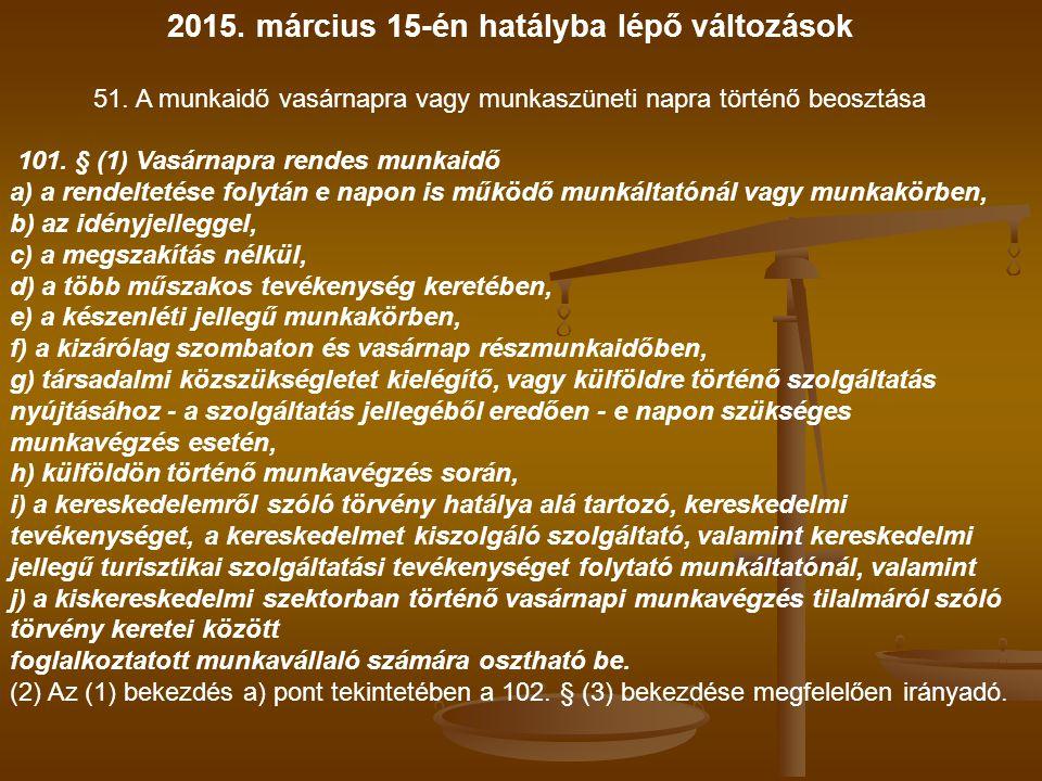 2015. március 15-én hatályba lépő változások