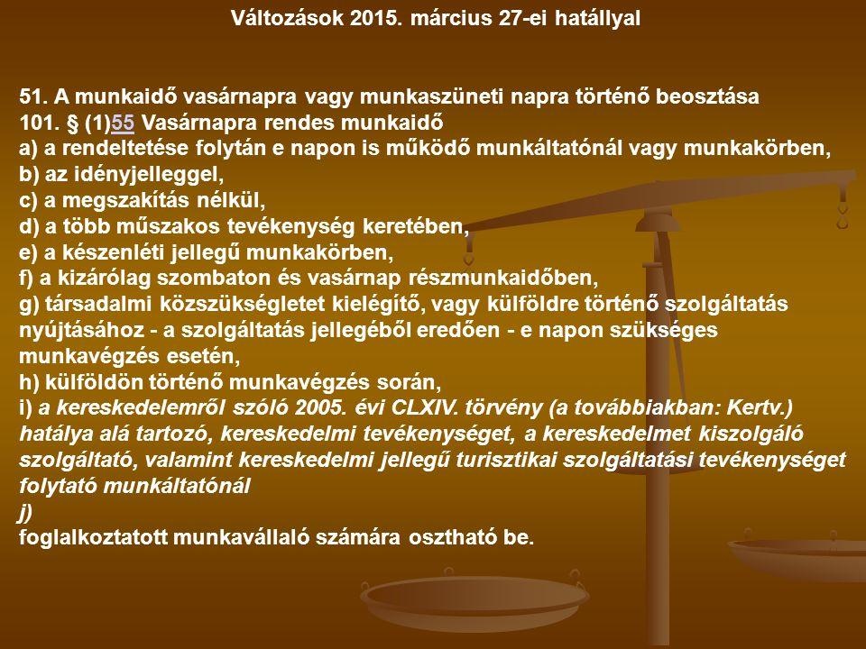 Változások 2015. március 27-ei hatállyal