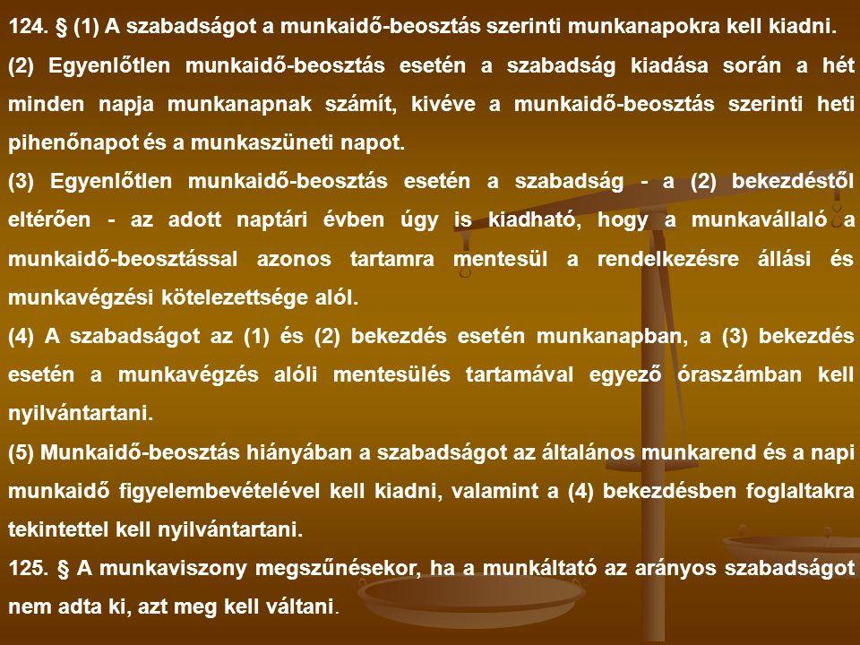 124. § (1) A szabadságot a munkaidő-beosztás szerinti munkanapokra kell kiadni.