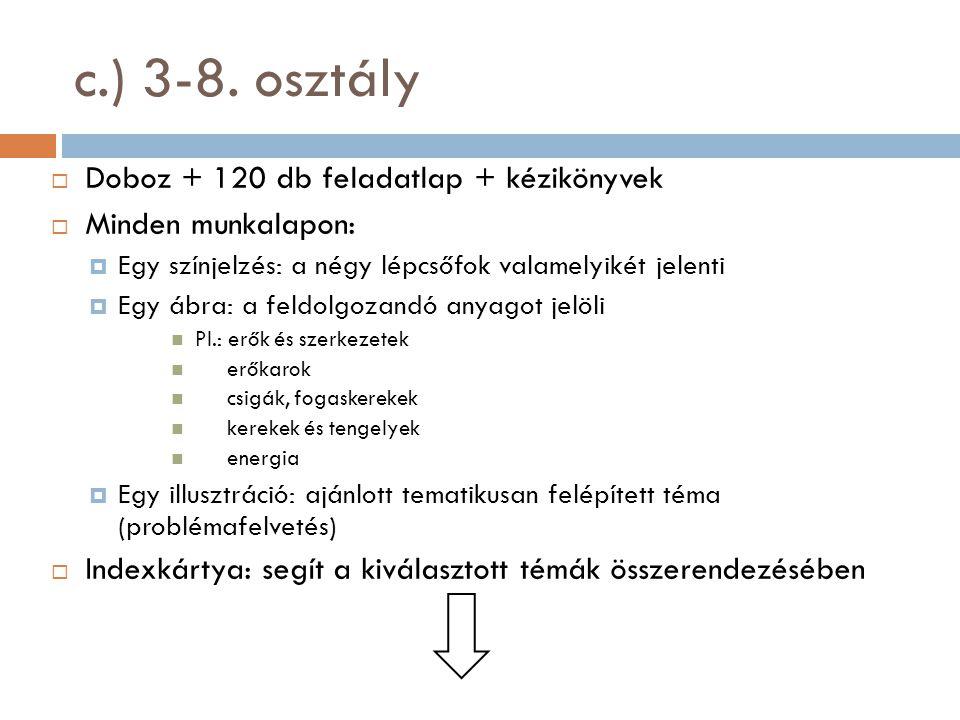 c.) 3-8. osztály Doboz + 120 db feladatlap + kézikönyvek