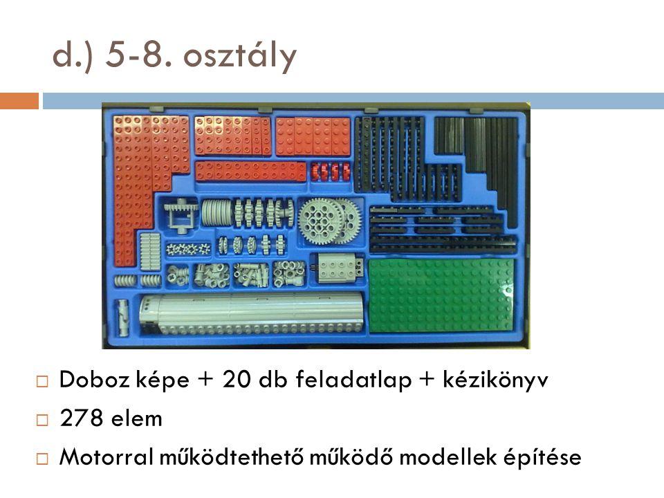 d.) 5-8. osztály Doboz képe + 20 db feladatlap + kézikönyv 278 elem