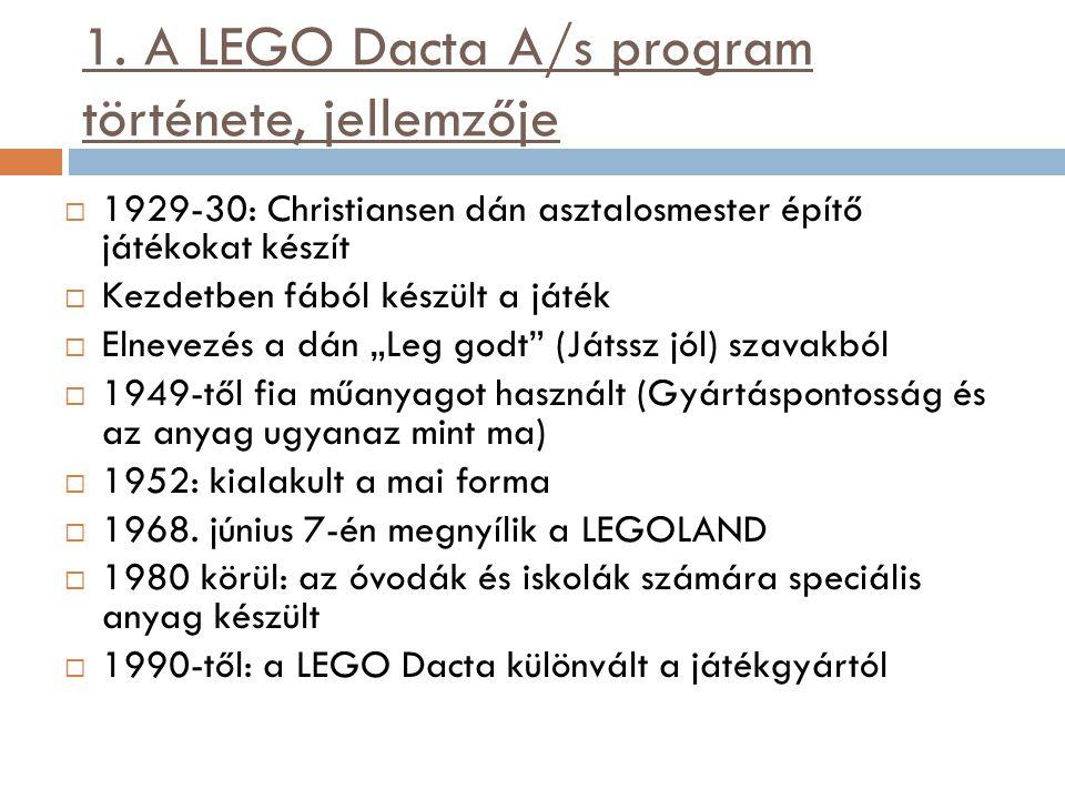 1. A LEGO Dacta A/s program története, jellemzője