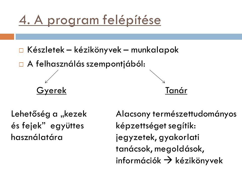 4. A program felépítése Készletek – kézikönyvek – munkalapok