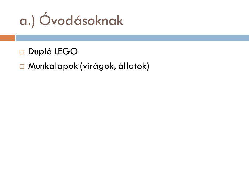 a.) Óvodásoknak Dupló LEGO Munkalapok (virágok, állatok)