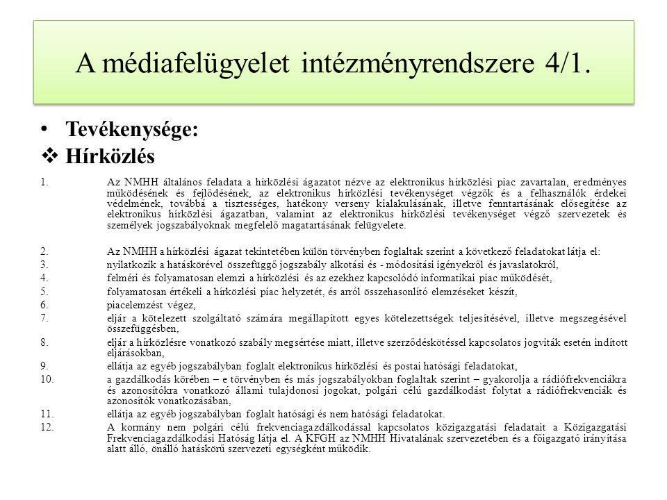 A médiafelügyelet intézményrendszere 4/1.