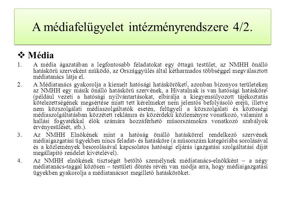 A médiafelügyelet intézményrendszere 4/2.