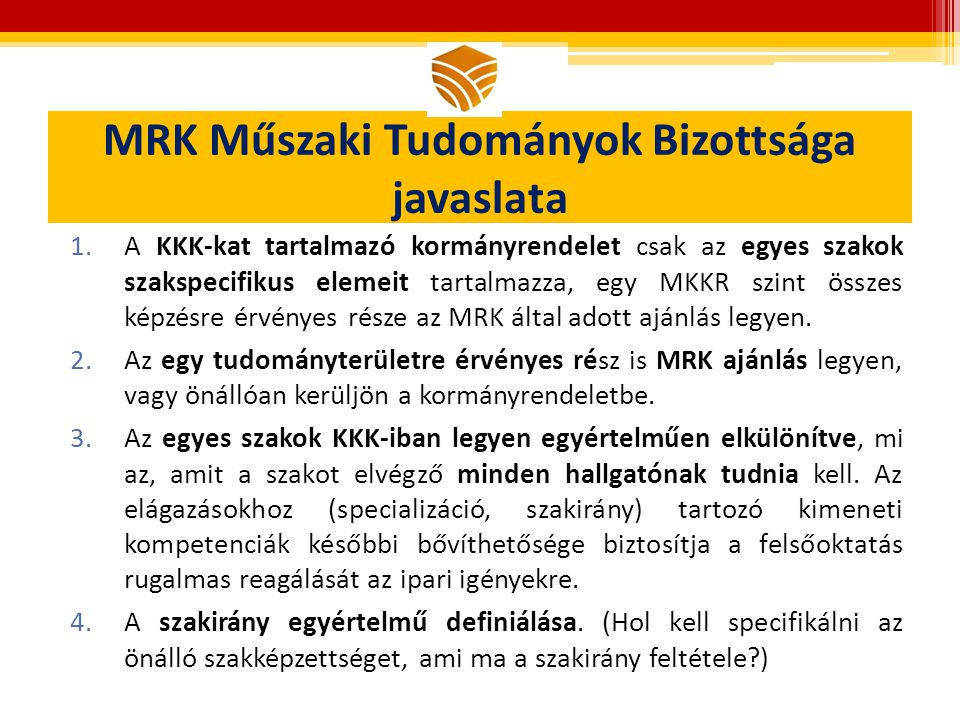 MRK Műszaki Tudományok Bizottsága javaslata