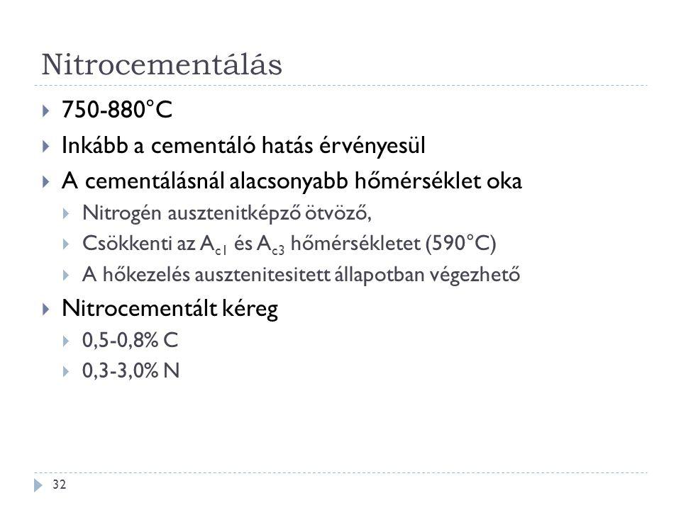 Nitrocementálás 750-880°C Inkább a cementáló hatás érvényesül