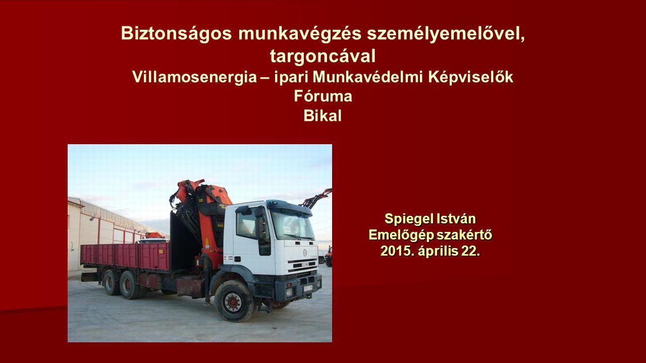 Biztonságos munkavégzés személyemelővel, targoncával Villamosenergia – ipari Munkavédelmi Képviselők Fóruma Bikal