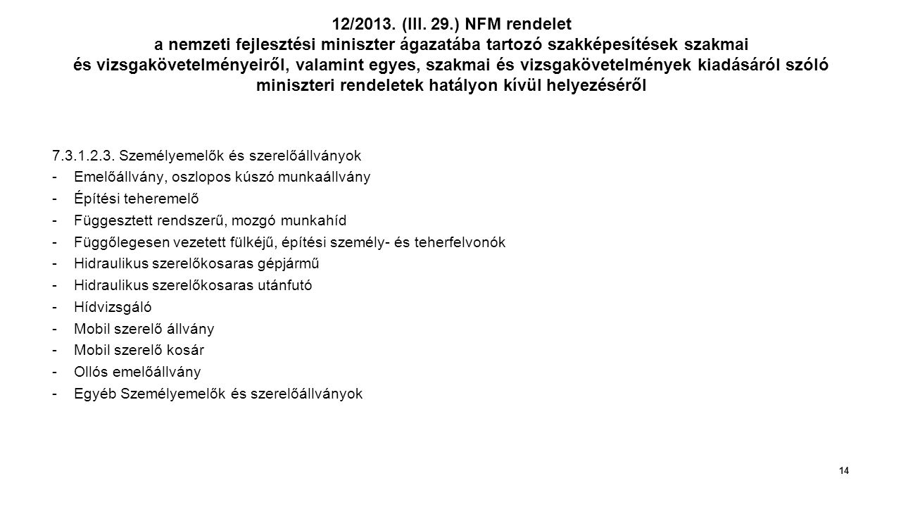 12/2013. (III. 29.) NFM rendelet a nemzeti fejlesztési miniszter ágazatába tartozó szakképesítések szakmai és vizsgakövetelményeiről, valamint egyes, szakmai és vizsgakövetelmények kiadásáról szóló miniszteri rendeletek hatályon kívül helyezéséről