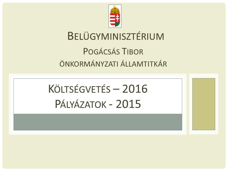 Költségvetés – 2016 Pályázatok - 2015