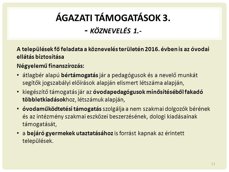 ÁGAZATI TÁMOGATÁSOK 3. - Köznevelés 1.-