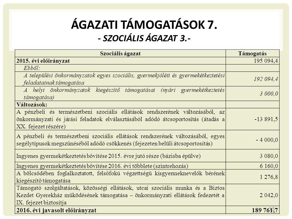 ÁGAZATI TÁMOGATÁSOK 7. - Szociális ágazat 3.-
