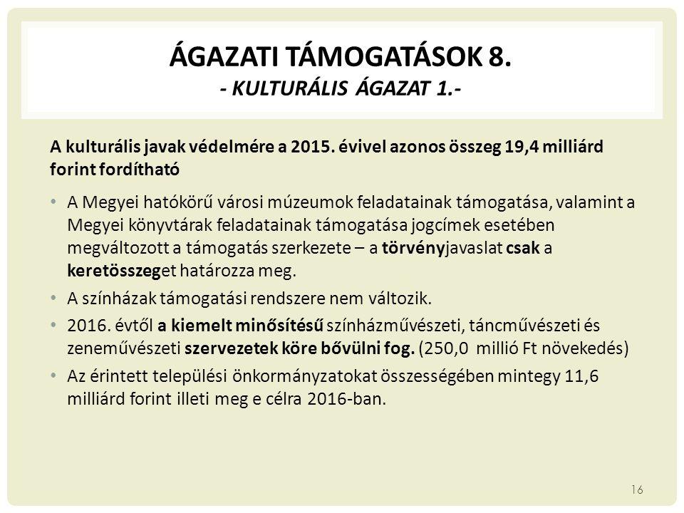 ÁGAZATI TÁMOGATÁSOK 8. - kulturális ágazat 1.-