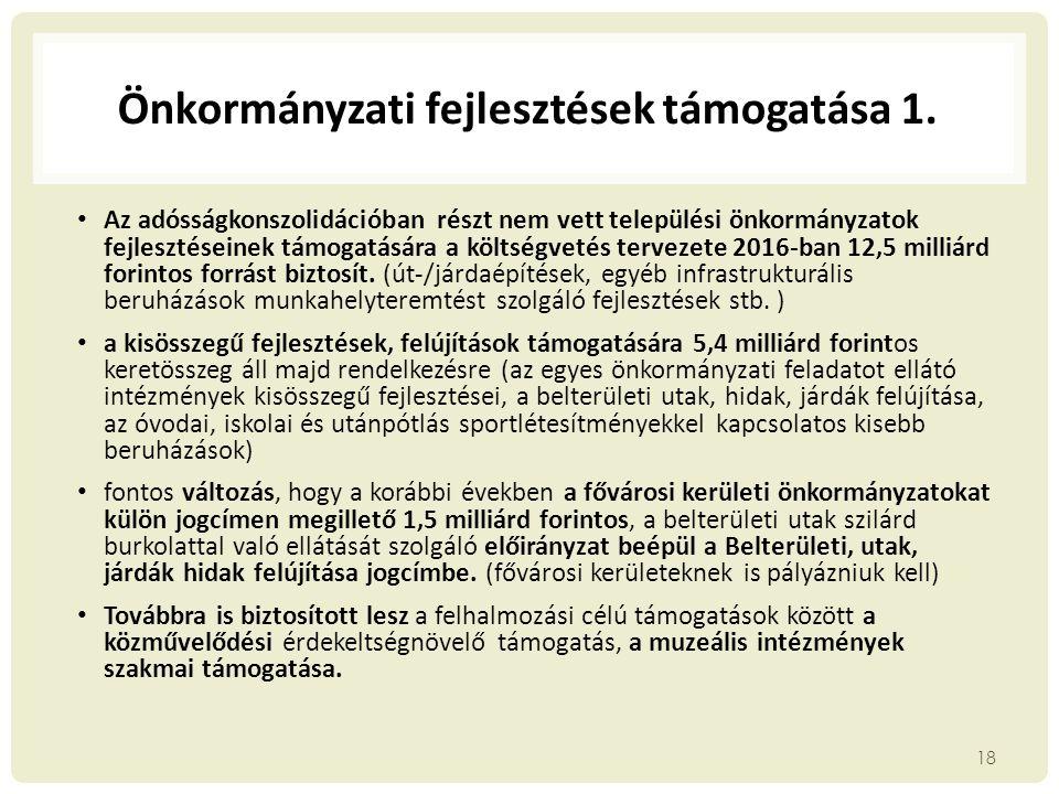 Önkormányzati fejlesztések támogatása 1.