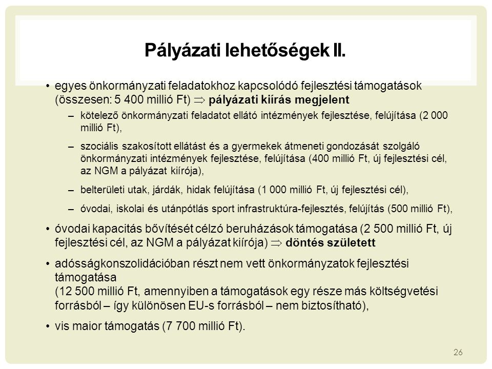 Pályázati lehetőségek II.