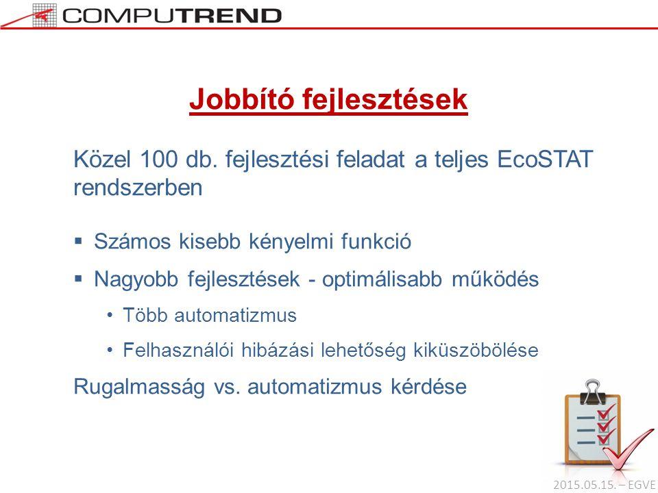Jobbító fejlesztések Közel 100 db. fejlesztési feladat a teljes EcoSTAT rendszerben. Számos kisebb kényelmi funkció.