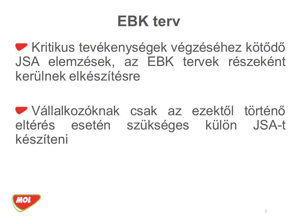 EBK terv Kritikus tevékenységek végzéséhez kötődő JSA elemzések, az EBK tervek részeként kerülnek elkészítésre.