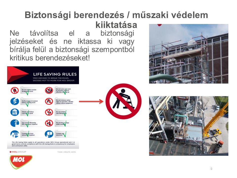 Biztonsági berendezés / műszaki védelem kiiktatása