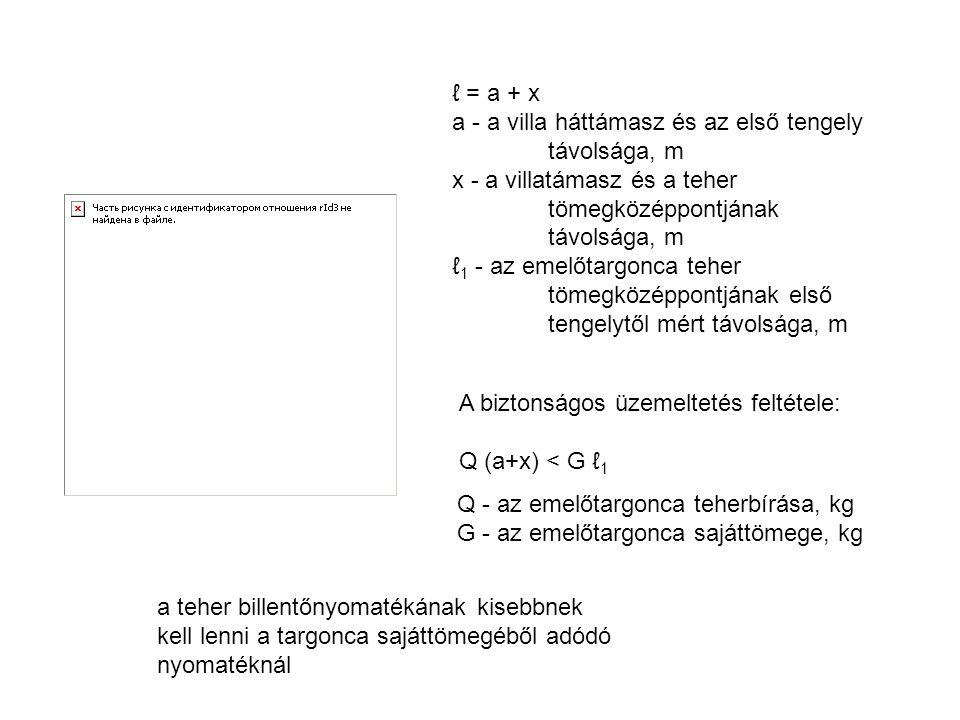 ℓ = a + x a - a villa háttámasz és az első tengely távolsága, m. x - a villatámasz és a teher tömegközéppontjának.