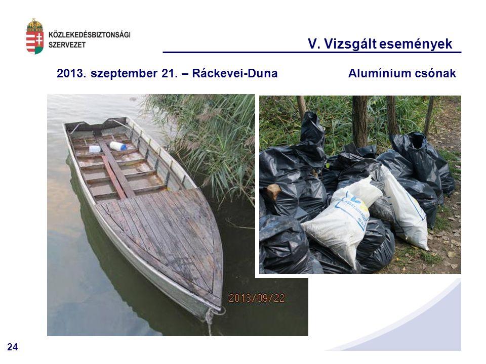 V. Vizsgált események 2013. szeptember 21. – Ráckevei-Duna Alumínium csónak