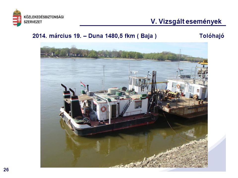 V. Vizsgált események 2014. március 19. – Duna 1480,5 fkm ( Baja ) Tolóhajó
