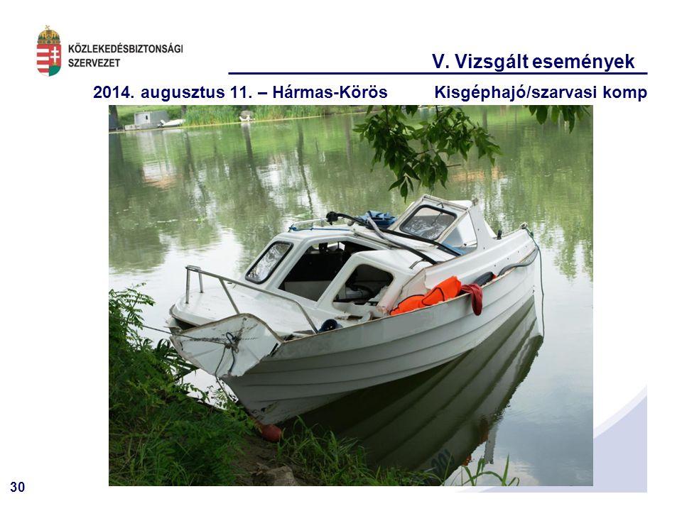 V. Vizsgált események 2014. augusztus 11. – Hármas-Körös Kisgéphajó/szarvasi komp