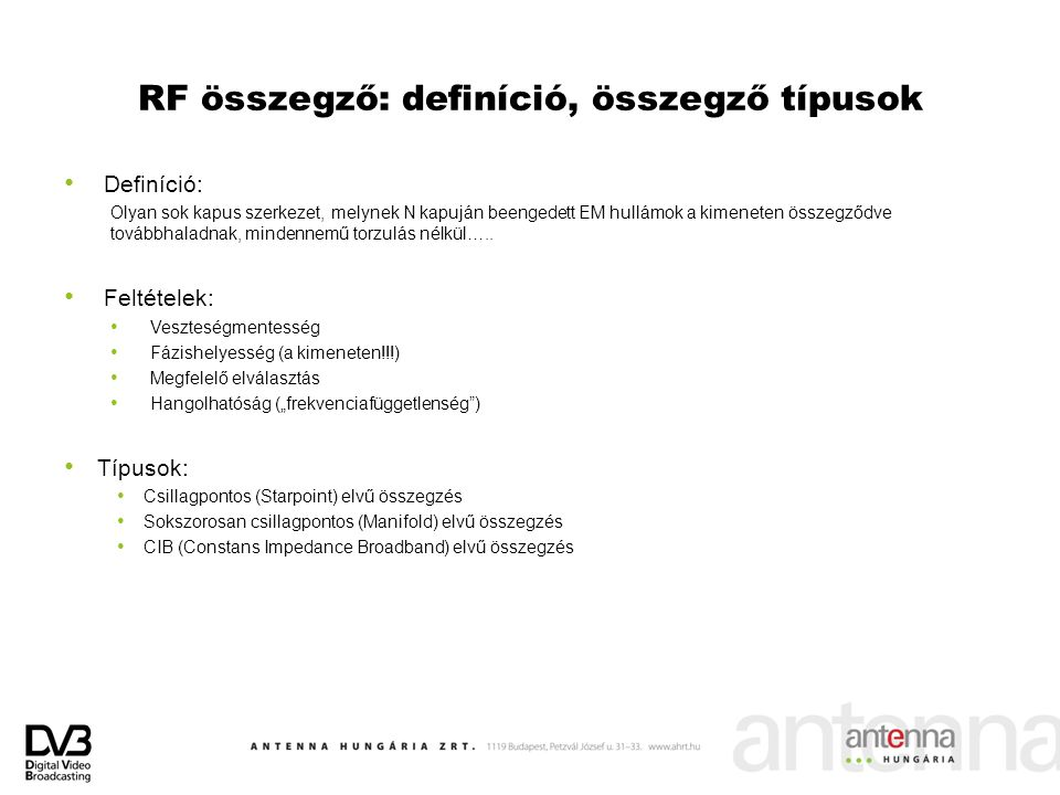 RF összegző: definíció, összegző típusok