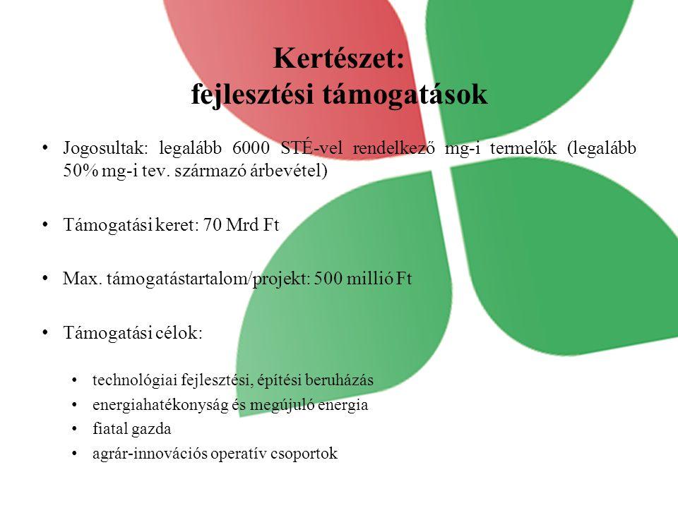 Kertészet: fejlesztési támogatások