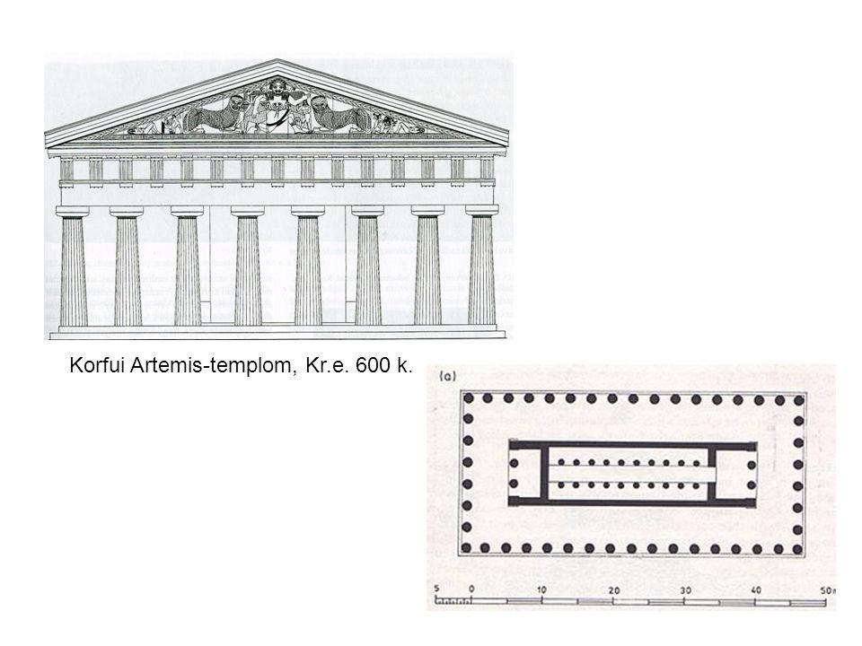 Korfui Artemis-templom, Kr.e. 600 k.
