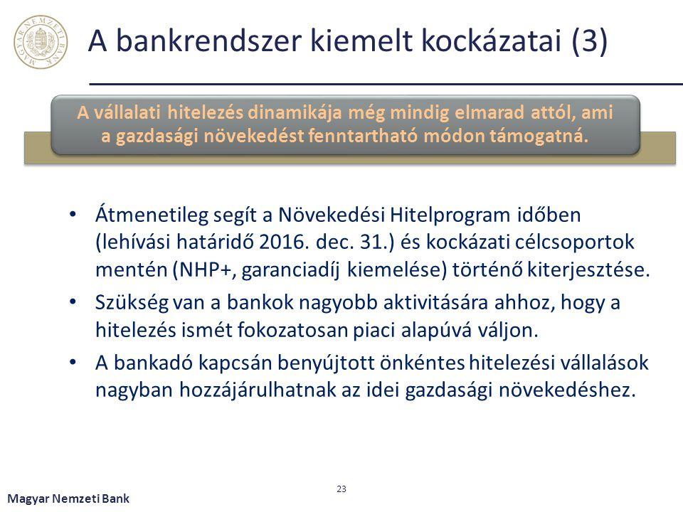A bankrendszer kiemelt kockázatai (3)