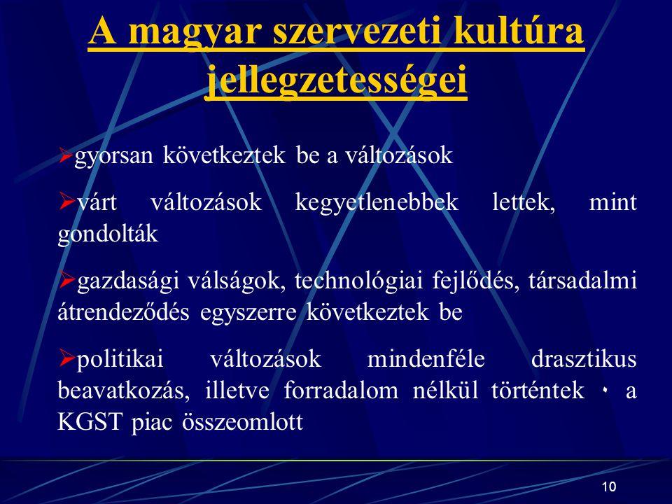 A magyar szervezeti kultúra jellegzetességei