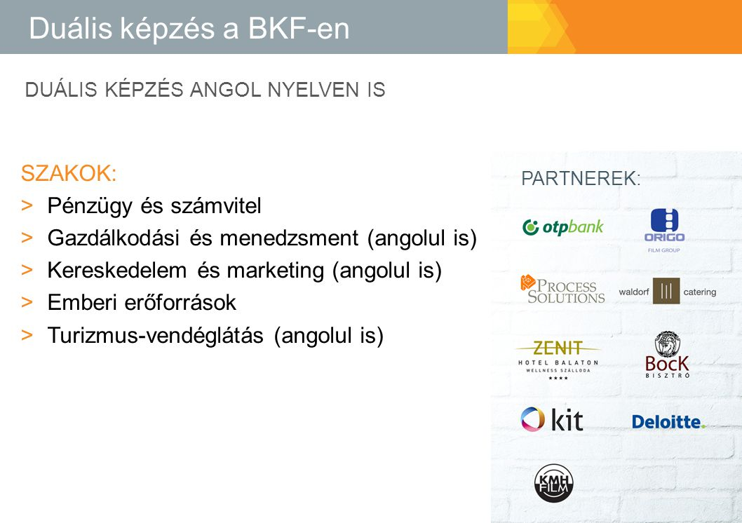 Duális képzés a BKF-en Szakok: Pénzügy és számvitel
