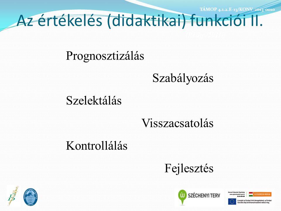Az értékelés (didaktikai) funkciói II. (Réthy /2011/)
