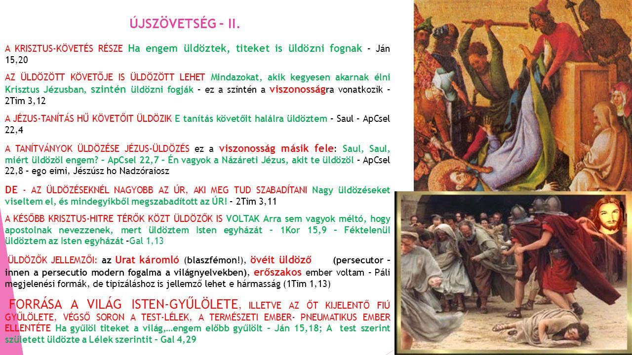 ÚJSZÖVETSÉG – II. A KRISZTUS-KÖVETÉS RÉSZE Ha engem üldöztek, titeket is üldözni fognak – Ján 15,20.