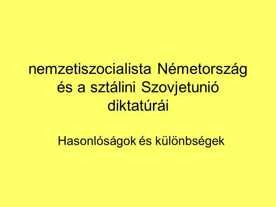 nemzetiszocialista Németország és a sztálini Szovjetunió diktatúrái