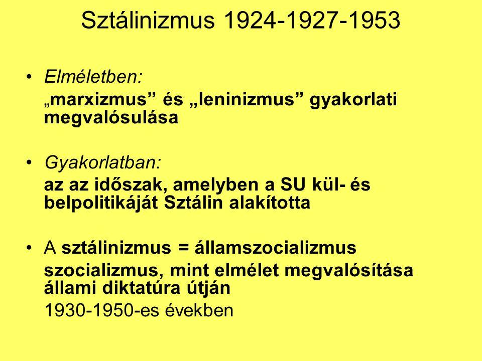 Sztálinizmus 1924-1927-1953 Elméletben: