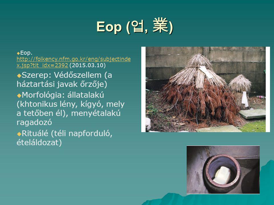 Eop (업, 業) Szerep: Védőszellem (a háztartási javak őrzője)