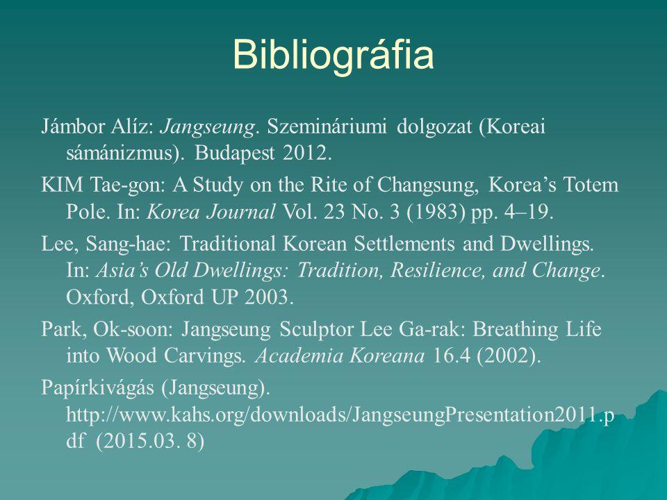 Bibliográfia Jámbor Alíz: Jangseung. Szemináriumi dolgozat (Koreai sámánizmus). Budapest 2012.