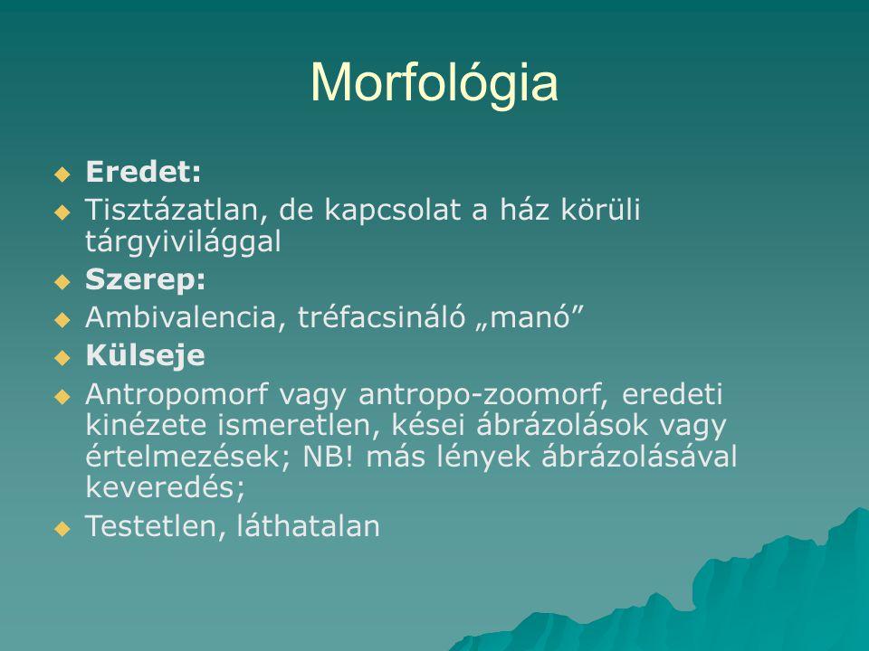 """Morfológia Eredet: Tisztázatlan, de kapcsolat a ház körüli tárgyivilággal. Szerep: Ambivalencia, tréfacsináló """"manó"""