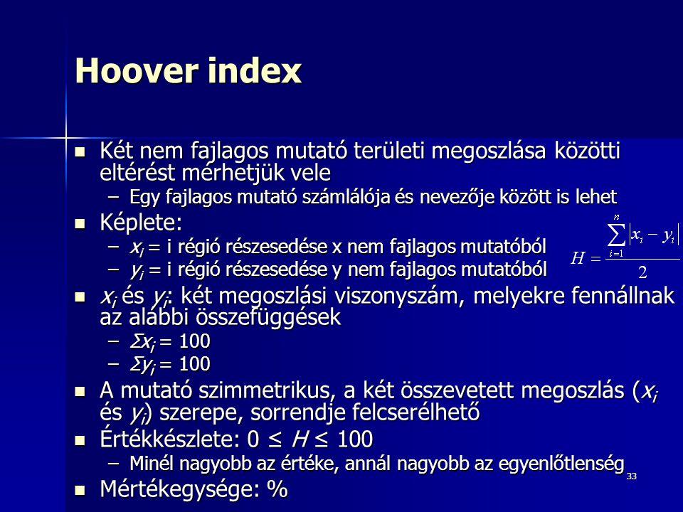 Hoover index Két nem fajlagos mutató területi megoszlása közötti eltérést mérhetjük vele. Egy fajlagos mutató számlálója és nevezője között is lehet.