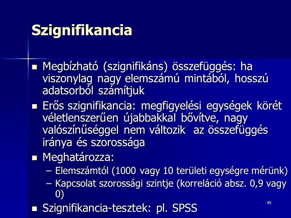 Szignifikancia Megbízható (szignifikáns) összefüggés: ha viszonylag nagy elemszámú mintából, hosszú adatsorból számítjuk.