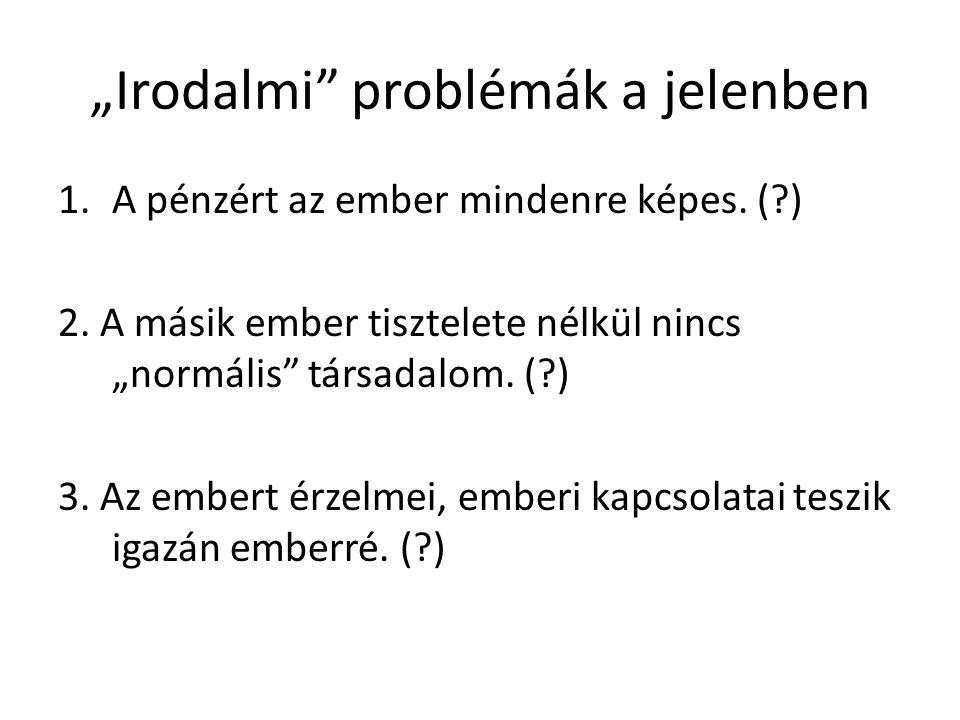 """""""Irodalmi problémák a jelenben"""