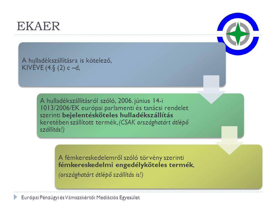 EKAER Európai Pénzügyi és Vámszakértői Mediációs Egyesület
