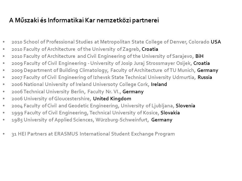 A Műszaki és Informatikai Kar nemzetközi partnerei