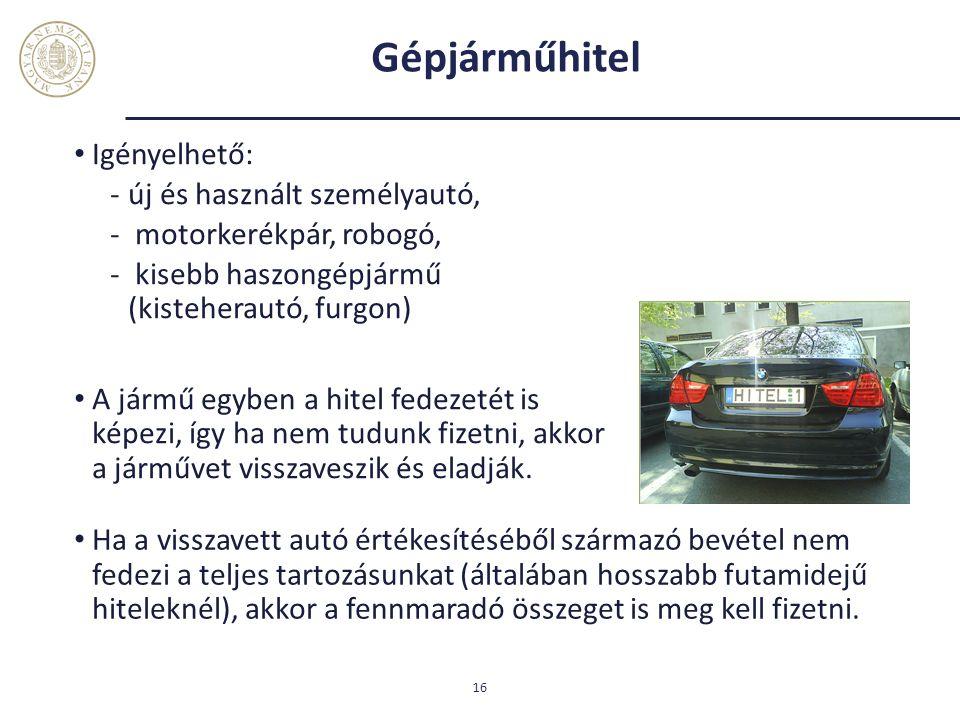 Gépjárműhitel Igényelhető: új és használt személyautó,
