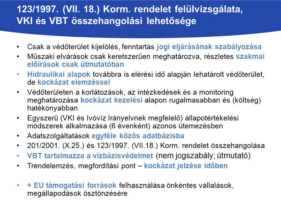 123/1997. (VII. 18.) Korm. rendelet felülvizsgálata, VKI és VBT összehangolási lehetősége