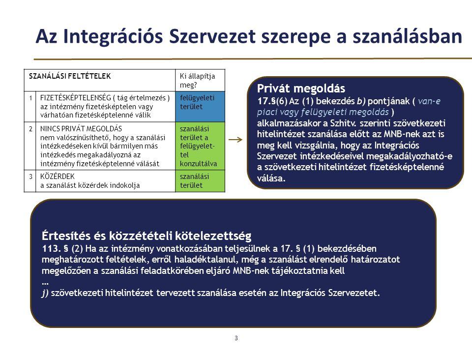 Az Integrációs Szervezet szerepe a szanálásban