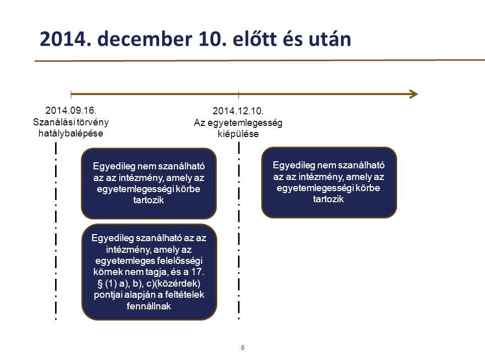 2014. december 10. előtt és után 2014.09.16. Szanálási törvény hatálybalépése. 2014.12.10. Az egyetemlegesség kiépülése.