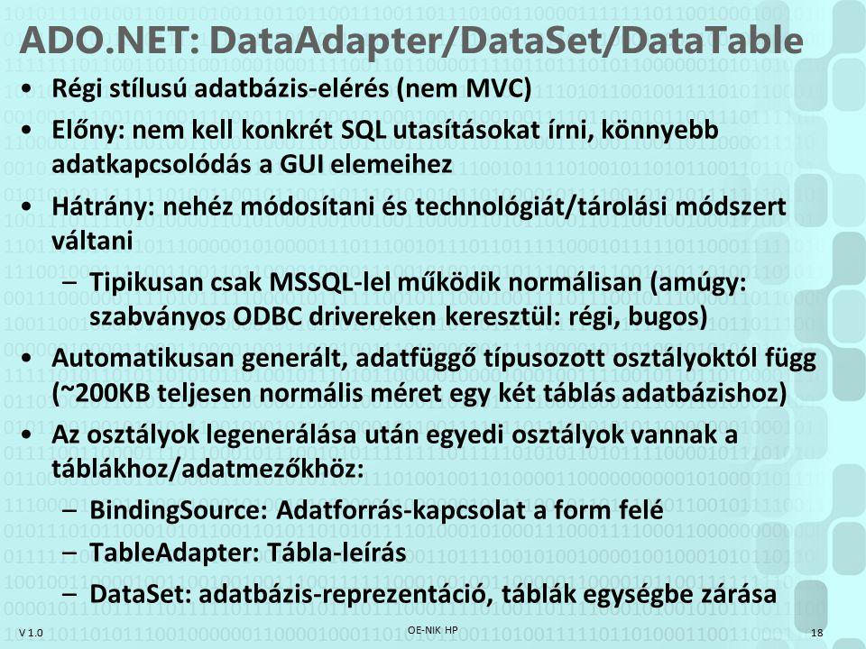 ADO.NET: DataAdapter/DataSet/DataTable